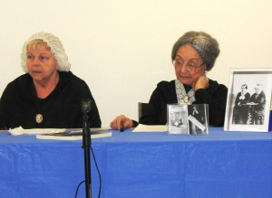 Nancy Wallace and Fran Davis honoring Elizabeth Cady Stanton and Susan B. Anthony