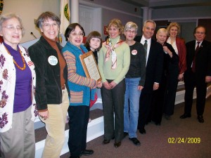 LWV Fair Lawn with plaque for Women's History Month, 2009