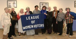 Shown left to right:  Barbara O'Brien as Amelia Earhart; Fran Davis as Susan B. Anthony; Nancy Wallace as Elizabeth Cady Stanton; Irma Leeds as Abigail Adams; Barbara McCann as Molly Pitcher; Toni Zimmer, President of LWVNJ, as Rosa Parks; Joyce Luhrs, co Vice-President LWVNV; Lucy Heller as Sandra Day O'Connor; Barbara King as Nancy Pelosi; Sophie Heymann as Emma Lazarus; and Maureen Field as Emma Gatewood, the first woman to hike the entire Appalachian Trail.